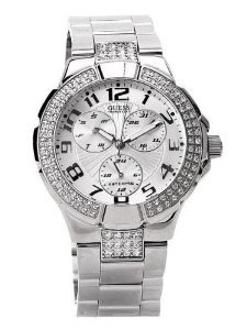 Guess Silver Crystalized Ladies G12557l